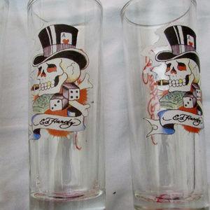 Three Vintage Don Ed Hardy Skull shot glasses